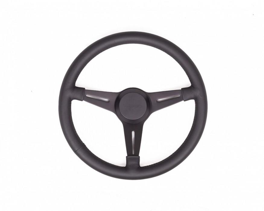Twisted black steering wheel